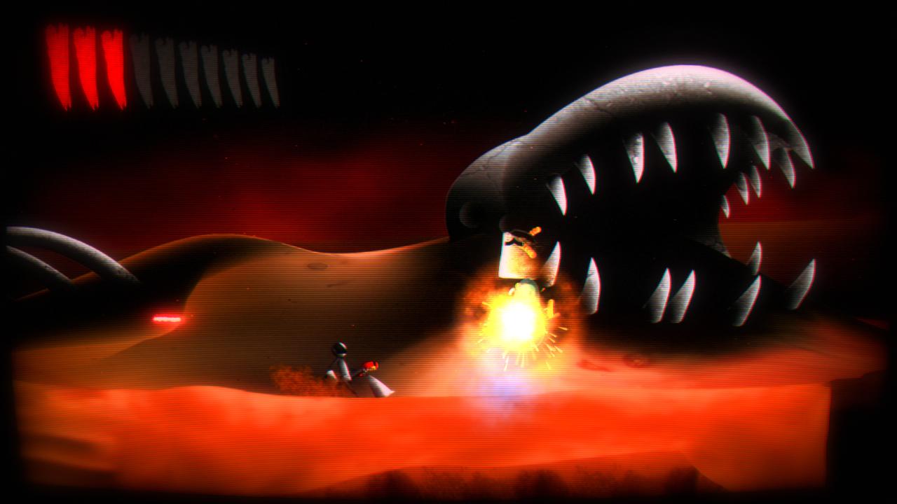 """Imagen del primer nivel del juego """"Astrozombies"""" llamado Burial Grounds, que esta ambientado en un estilo de desierto."""